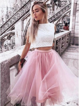 Two Piece Bateau Pink Tulle Homecoming Dress with Lcae