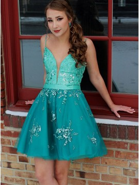 A-Line Spaghetti Straps Turquoise Tulle Homecoming Dress with Beading