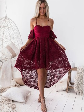 A-Line Off The Shoulder Burgundy Lace High Low Homecoming dress