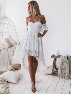 A-Line Off The Shoulder White Lace High Low Homecoming dress