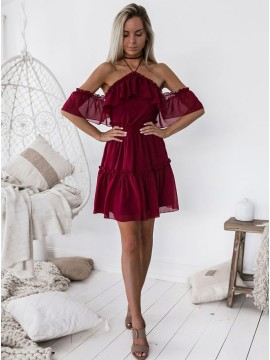 A-Line Halter Off The Shoulder Burgundy Chiffon Short Homecoming Dress with Ruffles