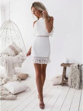Sheath High Ncek White Lace Short Homecoming Dress with Ruffles