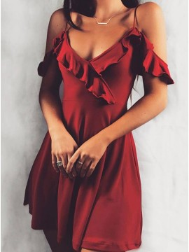 A-Line Cold Shoulder  Burgundy Elastic Satin Short Dress with Ruffles