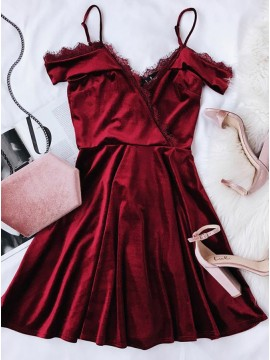 A-Line V Neck Burgundy Velvet Homecoming Dress With Lace