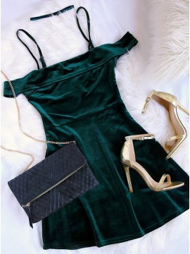 A-Line Off-the-Shoulder Dark Green Velvet Homecoming Dress