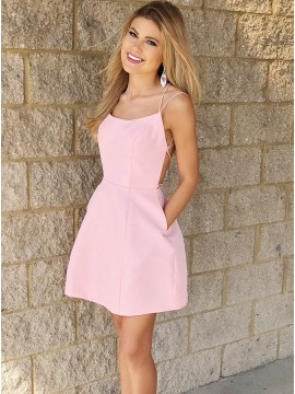 A-Line Spaghetti Straps Above-Knee Pink Satin Homecoming Dress with Pockets