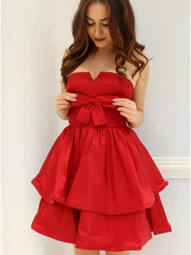 A-Line Strapless Red Satin Tiered Homecoming Dress with Bowknot