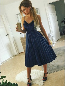A-Line Spaghetti Straps Navy Blue Velvet Homecoming Dress with Pleated