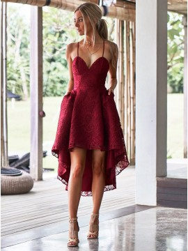 A-Line Spaghetti Straps Burgundy Lace High Low  Homecoming Dress with Pockets