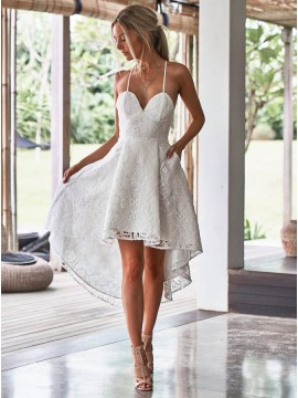 A-Line Spaghetti Straps White Lace High Low  Homecoming Dress with Pockets