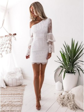 Sheath One Shoulder Long Sleeves White Lace Homecoming Dress with Ruffles