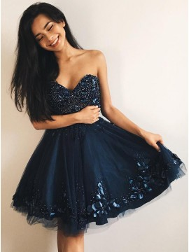 A-Line Sweetheart Navy Blue Tulle Homecoming Dress with Beading