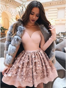 A-Line Illusion Bateau Short Pink Homecoming Dress with Appliques