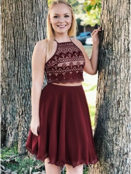 Two Piece Halter Burgundy Chiffon Homecoming Dress with Lace