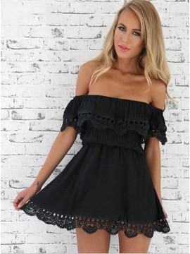 A-Line Off-the-Shoulder Black Homecoming Dress with Lace