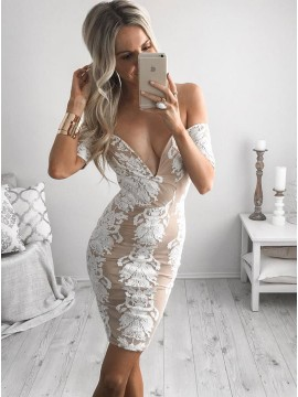 Sheath Off-the-Shoulder Champagne Cocktail Dress with Lace