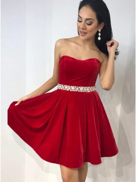 A-Line Sweetheart Red Velvet Short Homecoming Dress with Beading