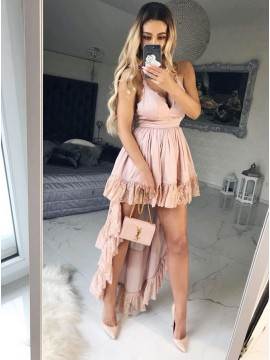A-Line Spaghetti Straps Pink High Low Homecoming Dress with Detachable Train