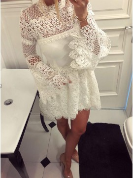 A-Line High Neck Long Bell Sleeves White Lace Homecoming Dress