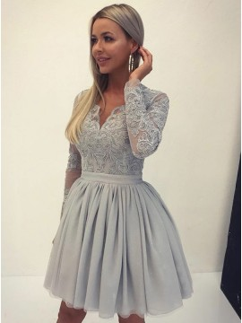 A-Line V-Neck Long Sleeves Gray Tulle Homecoming Dress with Appliques