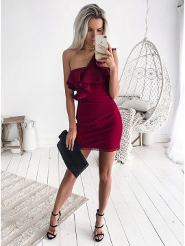 Sheath One Shoulder Burgundy Short Homecoming Dress with Ruffles