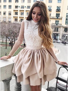 A-Line High Neck Long Sleeves Champagne Homecoming Dress with Appliques