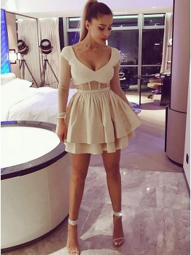 A-Line V-Neck Long Sleeves Short Light Champagne Tiered Homecoming Dress