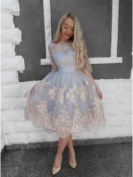 A-Line Bateau Half Sleeves Tea-Length Light Blue Homecoming Dress with Appliques