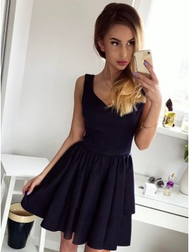 A-Line Scoop Above-Knee Black Tiered Satin Homecoming Dress