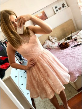 A-Line Round Neck Lace-up Above-Knee Pink Homecoming Dress