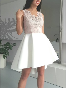 A-Line V-Neck High-Low White Satin Homecoming Dress with Appliques