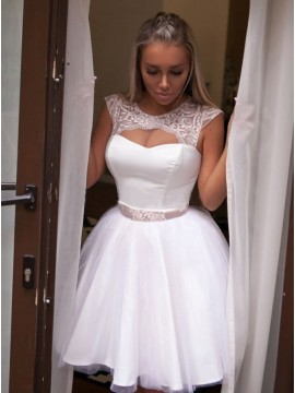 A-Line Crew Cap Sleeves Above-Knee White Homecoming Dress with Lace