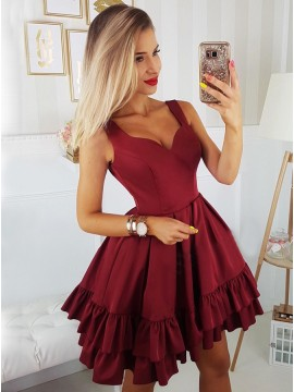 A-Line Straps Above-Knee Burgundy Tiered Homecoming Dress with Pleats