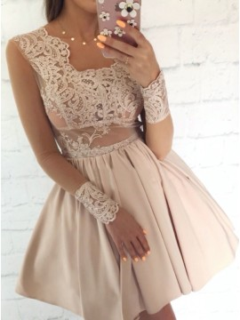 A-Line Square Above-Knee Champagne Homecoming Dress with Appliques