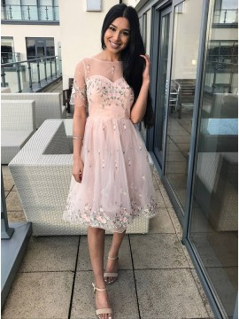 A-Line Bateau Knee-Length Pink Homecoming Dress with Appliques
