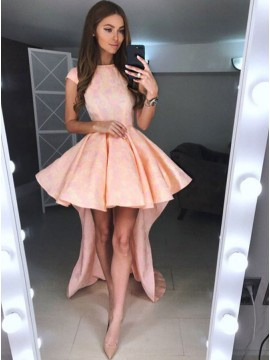 A-Line Crew Cap Sleeves High-Low Peach Printed Satin Homecoming Dress