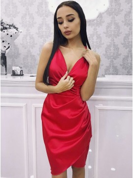Sheath V-Neck Knee-Length Red Homecoming Dress with Ruched