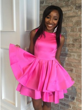 A-Line Crew Above-Knee Fuchsia Tiered Homecoming Dress with Pleats