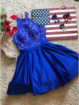 A-Line Jewel Above-Knee Royal Blue Homecoming Dress with Lace