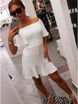 Sheath Off-the-Shoulder Above-Knee White Homecoming Dress