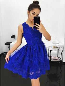 A-Line V-Neck Above-Knee Royal Blue Homecoming Dress with Appliques