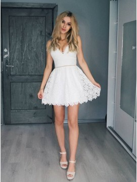 A-Line Spaghetti Straps Short White Lace Homecoming Party Dress