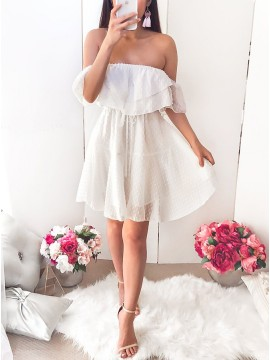A-Line Off-the-Shoulder Above-Knee White Homecoming Dress with Ruffles
