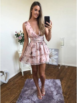 A-Line Deep V-Neck Short Pink Floral Chiffon Homecoming Dress