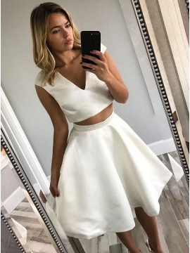 Two Piece V-Neck Cap Sleeves Knee-Length White Homecoming Party Dress