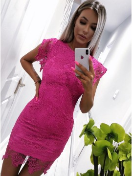 Sheath Crew Cap Sleeves Short Fuchsia Lace Cocktail Party Dress