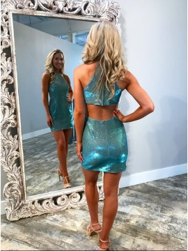 Sheath Jewel Open Back Short Blue Metallic Homecoming Dress