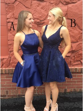 A-Line Spaghetti Straps Above-Knee Navy Blue Homecoming Dress with Beading Pockets