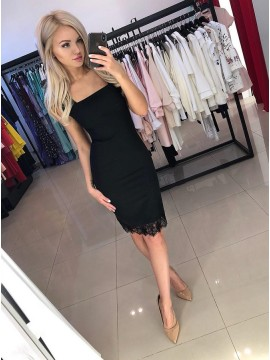 Sheath Square Knee-Length Black Homecoming Party Dress with Lace