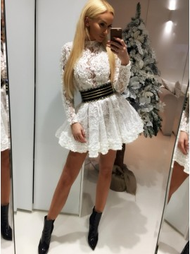 A-Line High Neck Long Sleeves Short White Lace Homecoming Party Dress